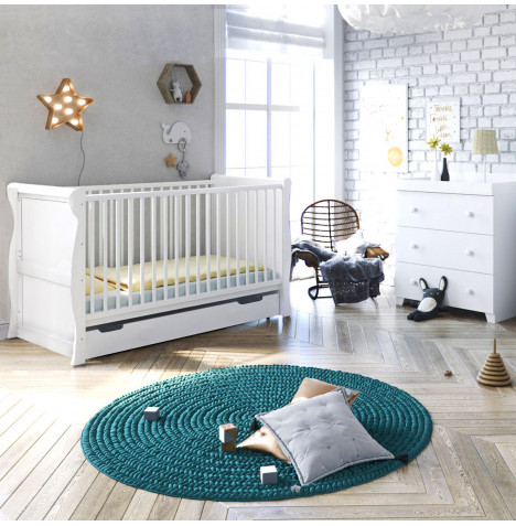 4Baby Little Acorns Sleigh Cot Bed 4 Piece Nursery Furniture Set - Cot Bed & Drawer With Dresser - White
