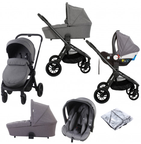 My Babiie MB400 I-Size Group 0+ Travel System With Carrycot *Billie Faiers Signature Range* - Grey Melange