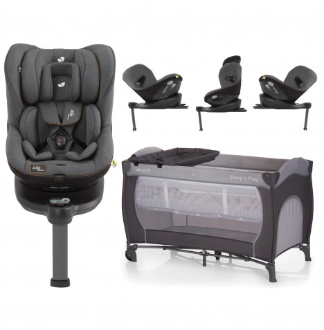 Joie Limited Edition i-Spin 360 iSize ISOFIX Group 0+/1 Car Seat With Free Hauck Sleep n Play Center Travel Cot / Playpen - Signature Noir / Stone