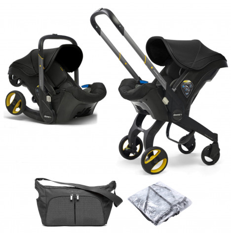 Doona Infant Car Seat / Stroller With Free Raincover & Changing Bag - Nitro Black
