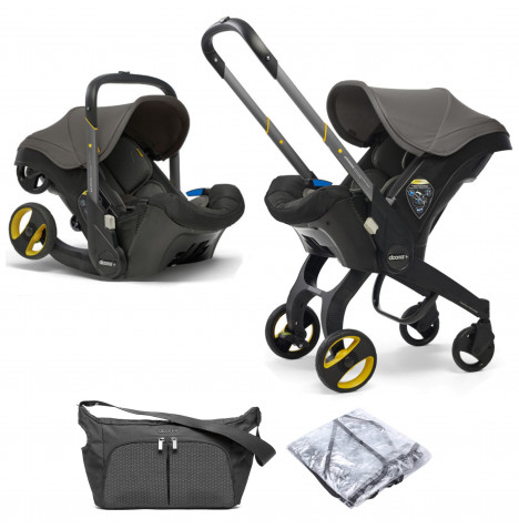 Doona Infant Car Seat / Stroller With Free Raincover & Changing Bag - Urban Grey