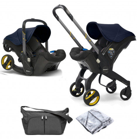 Doona Infant Car Seat / Stroller With Free Raincover & Changing Bag - Royal Blue