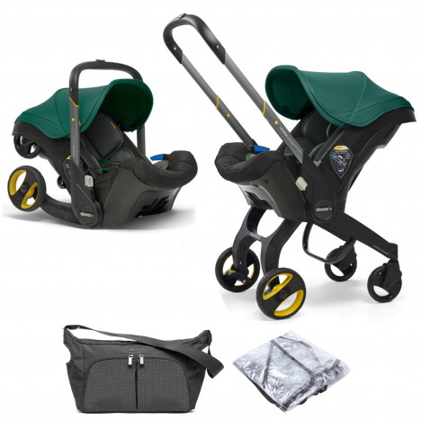 Doona Infant Car Seat / Stroller With Free Raincover & Changing Bag - Racing Green