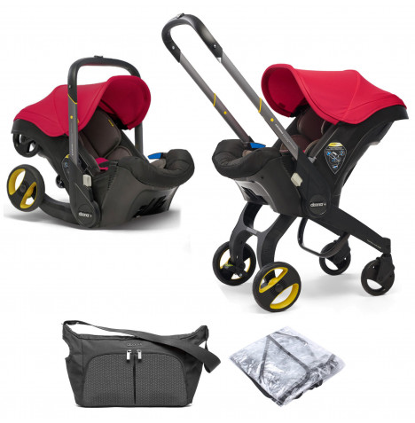 Doona Infant Car Seat / Stroller With Free Raincover & Changing Bag - Flame Red