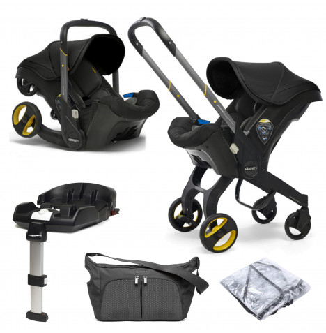 Doona Infant Car Seat / Stroller With ISOFIX Base & Free Raincover & Changing Bag - Nitro Black