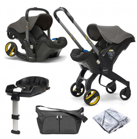 Doona Infant Car Seat / Stroller With ISOFIX Base & Free Raincover & Changing Bag - Urban Grey