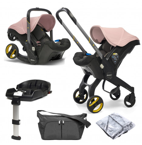 Doona Infant Car Seat / Stroller With ISOFIX Base & Free Raincover & Changing Bag - Blush Pink