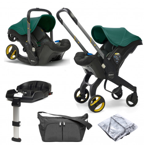 Doona Infant Car Seat / Stroller With ISOFIX Base & Free Raincover & Changing Bag - Racing Green