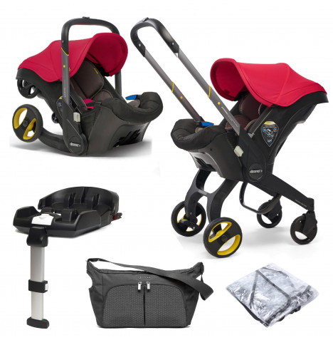 Doona Infant Car Seat / Stroller With ISOFIX Base & Free Raincover & Changing Bag - Flame Red
