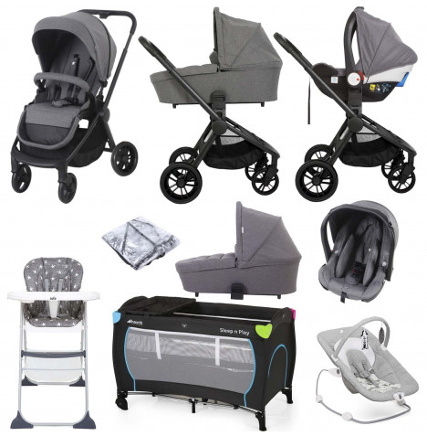 My Babiie MB400 I-Size Group 0+ Everything You Need Travel System Bundle With Carrycot *Billie Faiers Signature Range* - Grey Melange