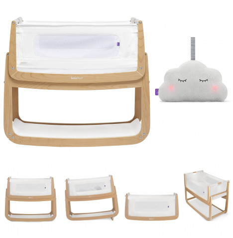 Snuz SnuzPod4 Bedside Crib 3 in 1 & Mattress With Free Snuzcloud Sleep Aid - Natural