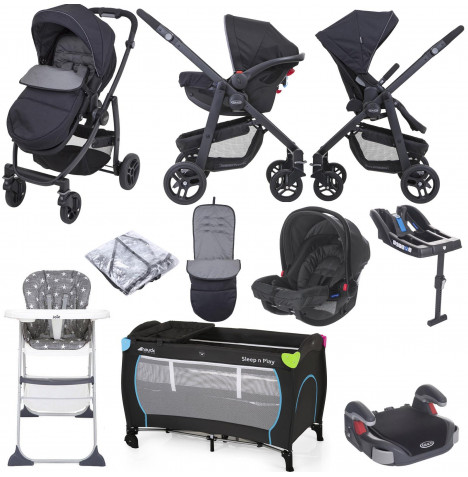 Graco Evo (SnugRide Car Seat) Everything You Need Travel System Bundle & Belted Safety Base - Black / Grey