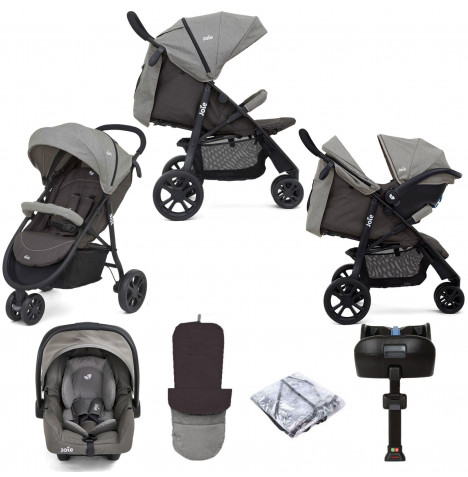 Joie Litetrax 3 Wheel (Gemm) Travel System & ISOFIX Base - Dark Pewter