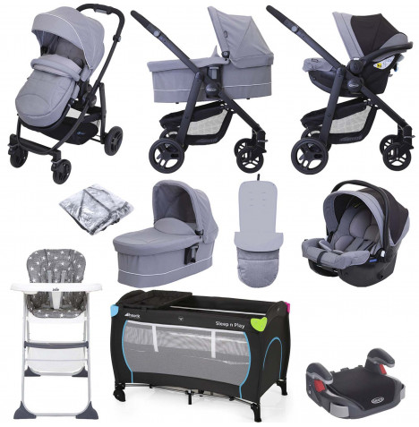 Graco Evo (SnugEssentials Car Seat) Everything You Need Travel System Bundle with Carrycot - Steeple Grey