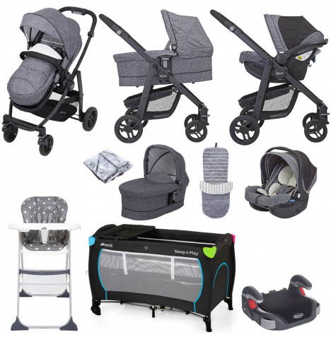 Graco Evo (SnugEssentials Car Seat i-Size) Everything You Need Travel System Bundle with Carrycot - Suits Me
