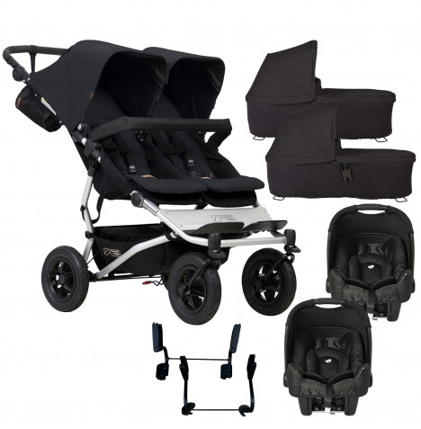 Mountain Buggy Duet V3 Double (Gemm) Travel System & 2 Carrycots - Black