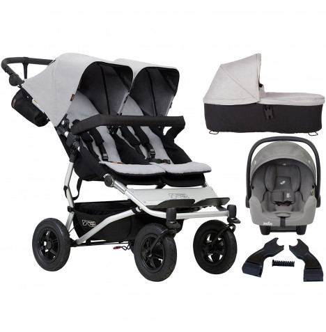 Mountain Buggy Duet V3 (i-Snug) Travel System & Carrycot - Silver