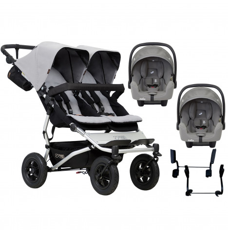 Mountain Buggy Duet V3 Double (i-Snug) Travel System - Silver