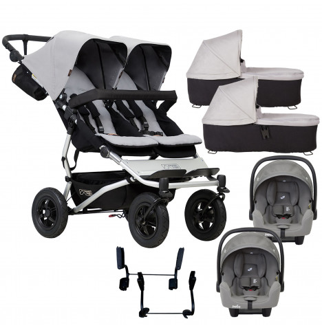 Mountain Buggy Duet V3 Double (i-Snug) Travel System & 2 Carrycots - Silver