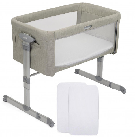 Joie Roomie Glide Bedside Crib With 2 Fitted Sheets - Almond