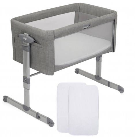 Joie Roomie Glide Bedside Crib With 2 Fitted Sheets  - Foggy Grey