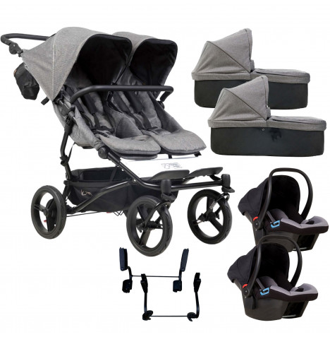 Mountain Buggy Duet Luxury Twin Double (Protect) Travel System With 2 Carrycots - Herringbone