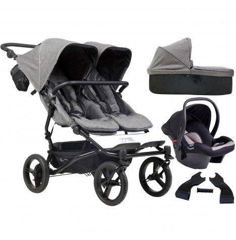 Mountain Buggy Duet Luxury Twin (Protect) Travel System With Carrycot - Herringbone