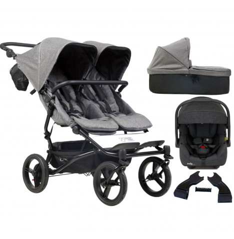 Mountain Buggy Duet Luxury Twin (i-Gemm 2) Travel System With Carrycot - Herringbone