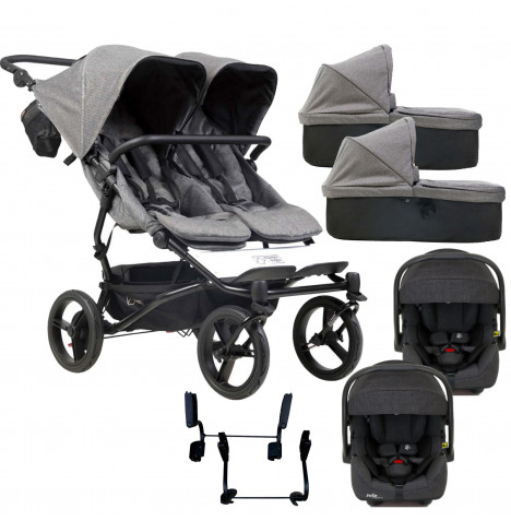 Mountain Buggy Duet Luxury Twin Double (i-Gemm 2) Travel System With 2 Carrycots - Herringbone