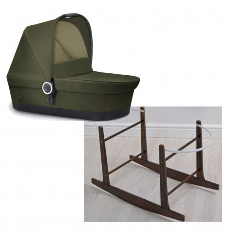 Cybex GB Platinum Ebaby Maris Moses Basket / Carrycot R with Rocking Stand - Lizard Khaki