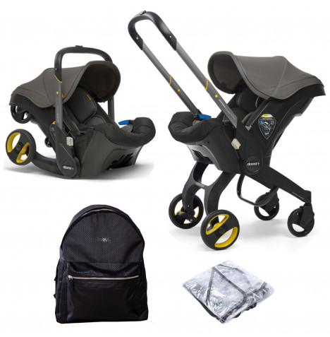 Doona Infant Car Seat / Stroller With Universal Raincover & Changing Bag - Urban Grey