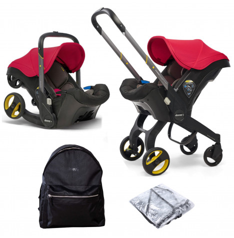 Doona Infant Car Seat / Stroller With Universal Raincover & Changing Bag - Flame Red