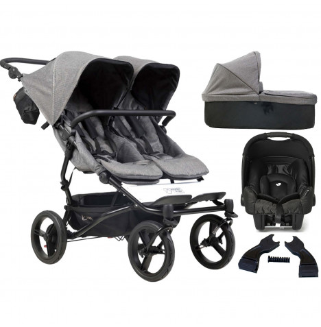Mountain Buggy Duet Luxury Twin (Gemm) Travel System With Carrycot - Herringbone