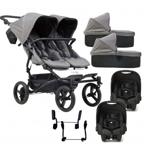 Mountain Buggy Duet Luxury Twin Double (Gemm) Travel System With 2 Carrycots - Herringbone