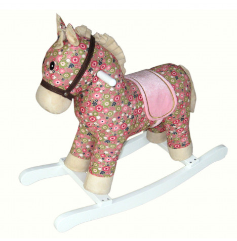 Cuddles Collection Rocking Horse Toy - Poppy Pink