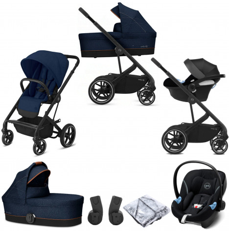 Cybex Balios S Lux (Aton M i-Size) Travel System with Carrycot - Navy Blue