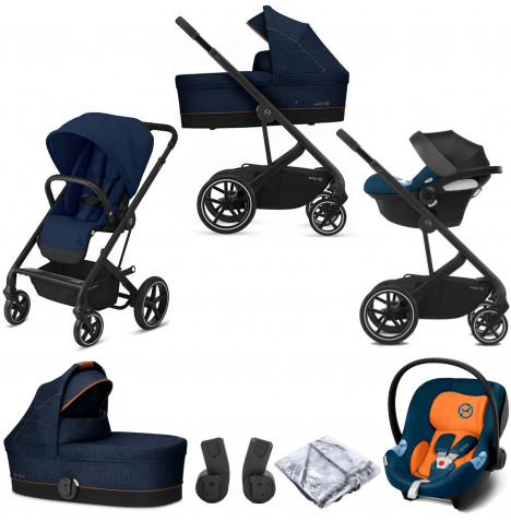 Cybex Balios S Lux (Aton M) Travel System with Carrycot - Navy Blue