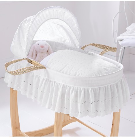 Clair De Lune Palm Baby Moses Basket - Broderie Anglaise White