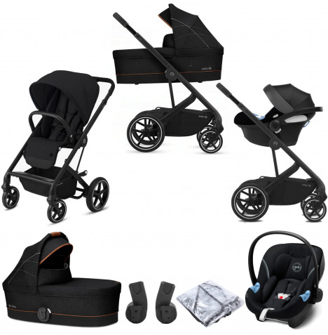 Cybex Balios S Lux (Aton M i-Size) Travel System with Carrycot - Deep Black