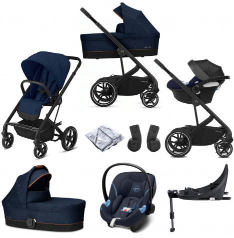Cybex Balios S Lux (Aton M i-Size) Travel System with Carrycot & ISOFIX Base - Navy Blue