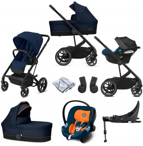 Cybex Balios S Lux (Aton M) Travel System with Carrycot & ISOFIX Base - Navy Blue