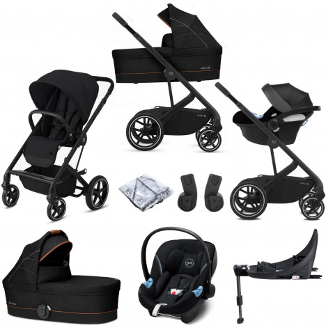 Cybex Balios S Lux (Aton M i-Size) Travel System with Carrycot & ISOFIX Base - Deep Black