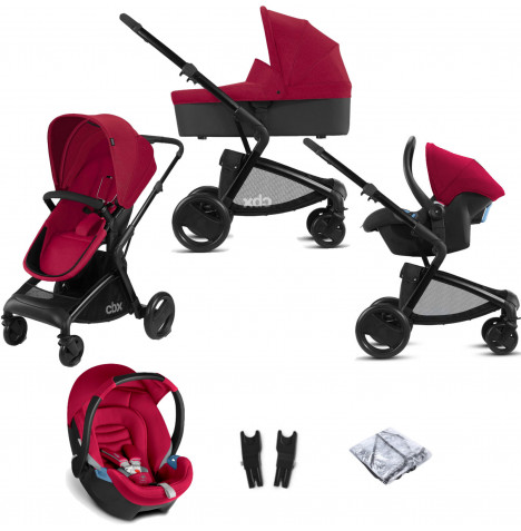 Cybex CBX Bimisi Pure (Aton) Travel System with Carrycot - Crunchy Red