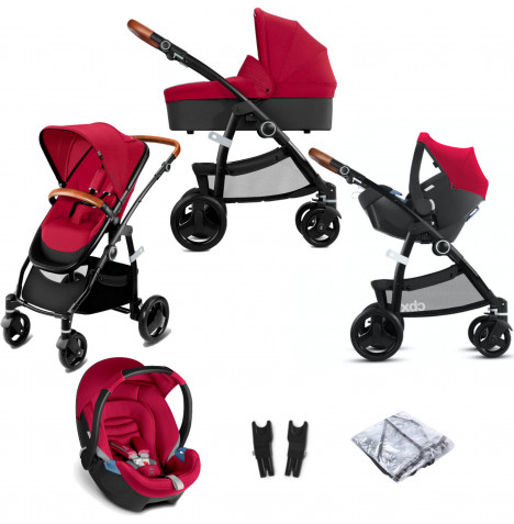 Cybex CBX Leotie Lux (Aton) Travel System with Carrycot - Crunchy Red