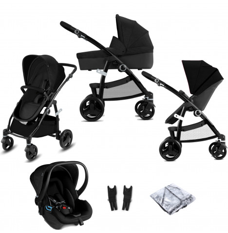 Cybex CBX Leotie Pure (Shima) Travel System with Carrycot - Smoky Anthracite
