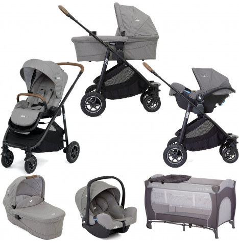 Joie Versatrax (i-Snug) Travel System with Carrycot & Free Hauck Sleep n Play Bassinet Travel Cot - Grey Flannel