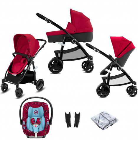 Cybex CBX Leotie Pure (Aton M i-Size) Travel System with Carrycot - Crunchy Red