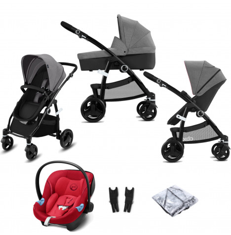 Cybex CBX Leotie Pure (Aton M i-Size) Travel System with Carrycot - Comfy Grey