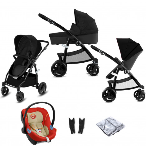 Cybex CBX Leotie Pure (Aton M) Travel System with Carrycot - Smoky Anthracite