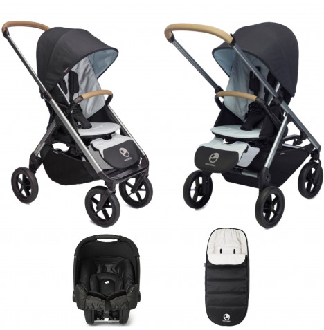 Easywalker Mosey+ (Gemm) Travel System Bundle with Accessories - Charcoal Blue